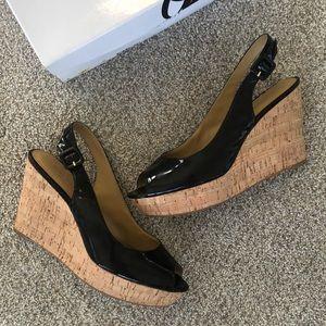 Nine West Patent Black peep toe Wedges